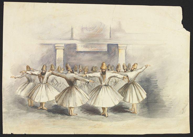 Dancing Dervishes of Constantinople, Samuel Read, 1854