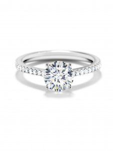 Round Solitaire Ring With Pavé Band