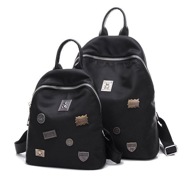 Black Nylon Oxford Metal Decorate Casual Large Small Backpack School Bag - shechoic.com