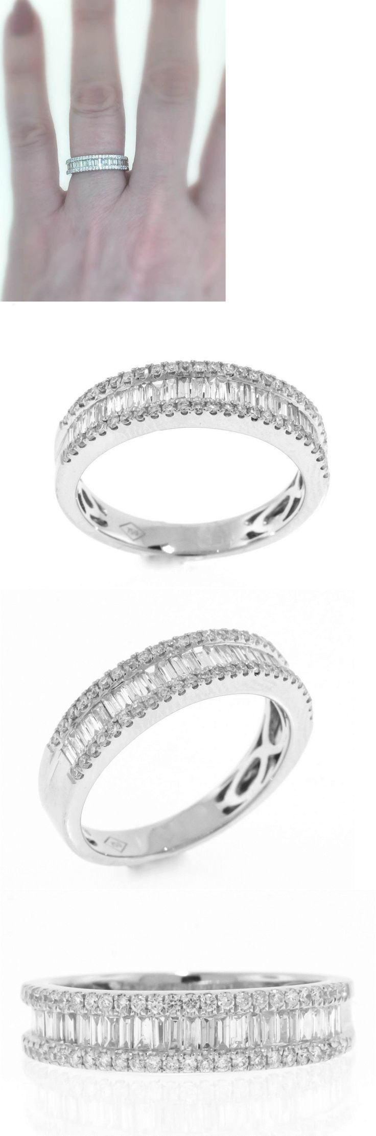 Diamonds and Gemstones 92853: Vs1 Diamond Anniversary Ring 1.00Ct Baguette 18K White Gold Band BUY IT NOW ONLY: $999.0