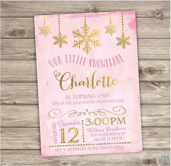 Winter Wonderland Snowflake Birthday Invitations Glitter