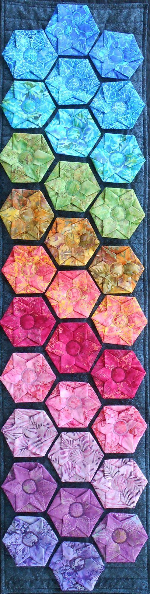 Hexi Flower Fun batik quilt by Erin Underwood @Craftsy