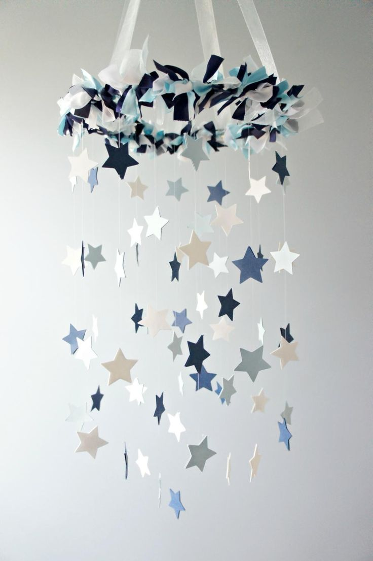 Star Mobile- Blue Nursery Mobile, Shower Gift, Photographer Prop on Luulla or make out if snowflakes