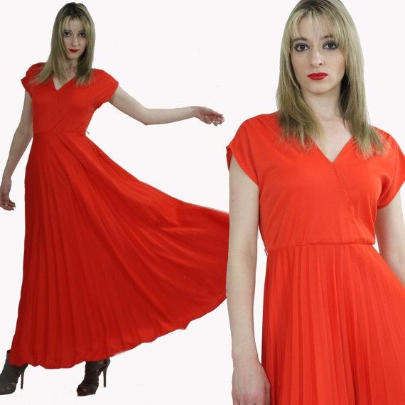 Vintage Grecian Goddess Draped Dress Deep V by ...
