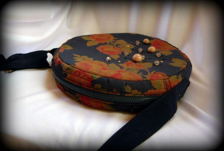Handmade by Judy Majoros - Vintage- Rose- round -silk -crossbody bag- shoulder bag. Recycled bag