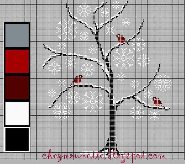 Red birds in a snowy tree free cross stitch pattern