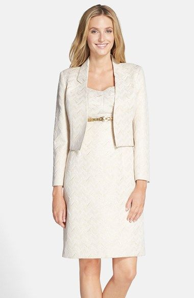 Tahari belted metallic jacquard sheath with jacket for Nordstrom women s wedding guest dresses