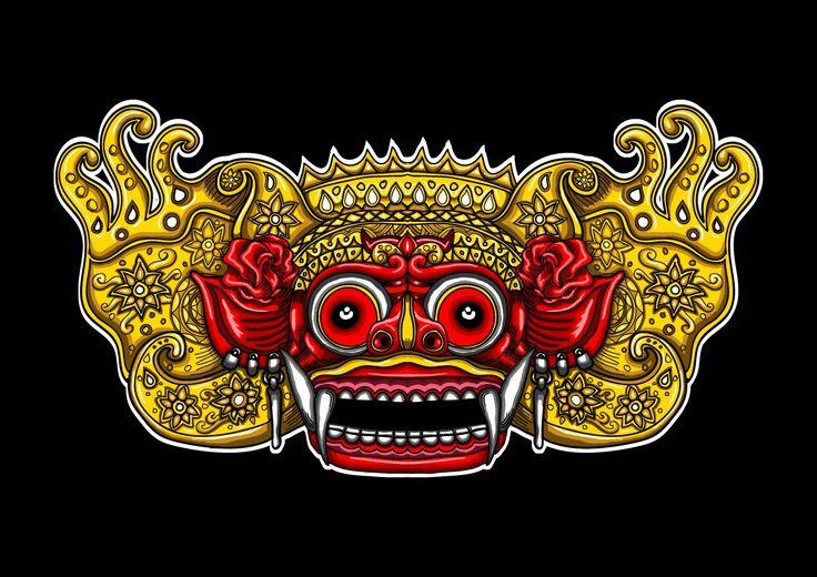Traditional Bali Mask. Barong digital art