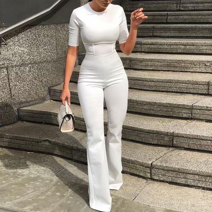 Short sleeve bell-bottom jumpsuit Women white bodycon rompers womens jumpsuit 2019 Overalls sumemr pants combinaison femme
