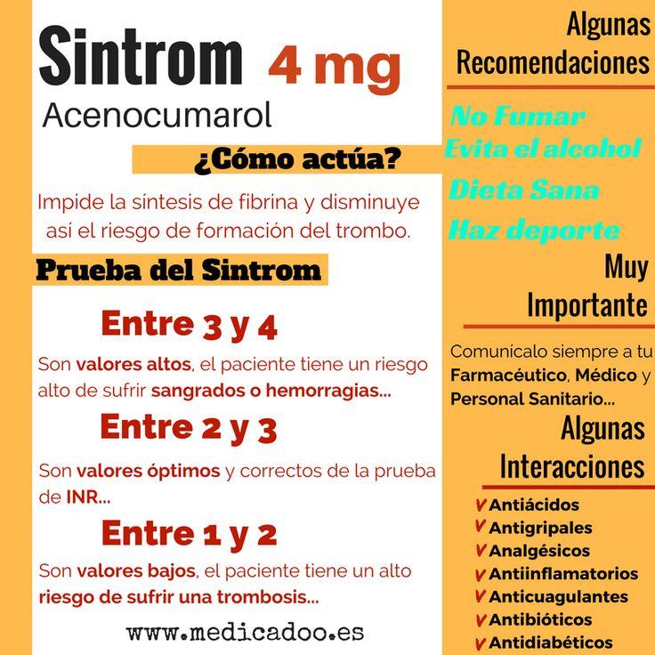 El Sintrom es un anticoagulante oral y un clásico en el tratamiento de a pacientes que padecen un elevado riesgo de sufrir trombosis o embolias por un exceso de coagulación sanguínea. Primero, come…