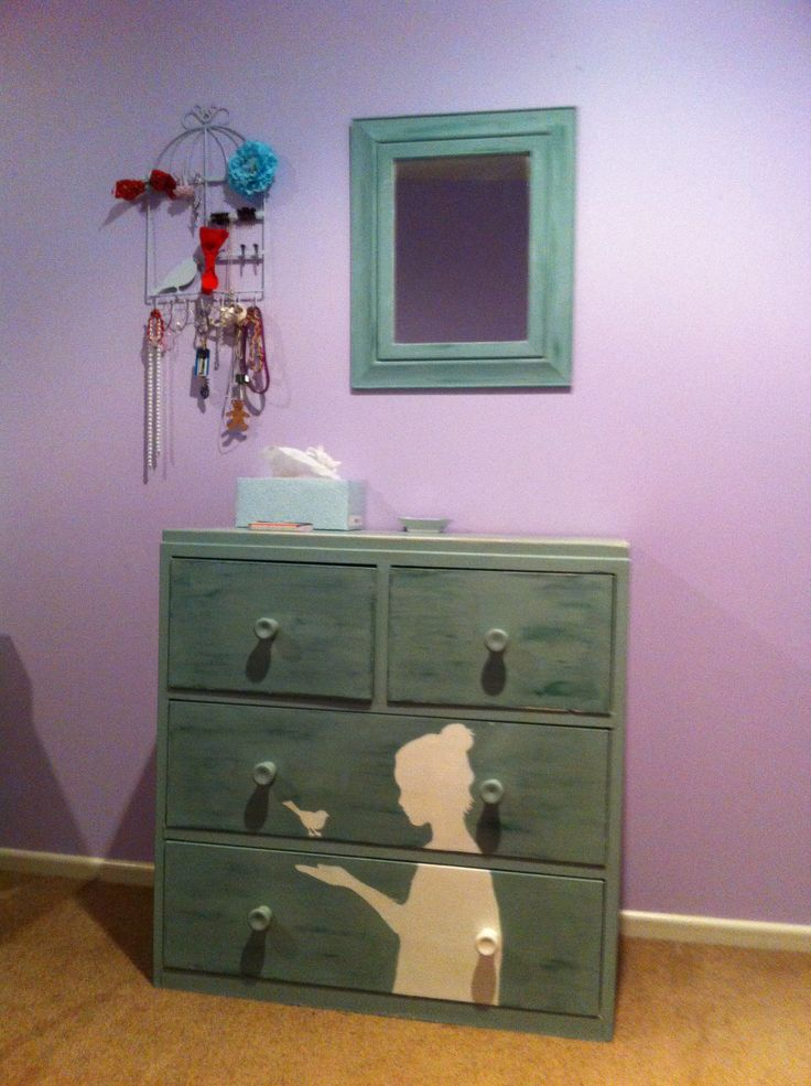 Old dresser painted with my daughters profile on it... Chalk paint...