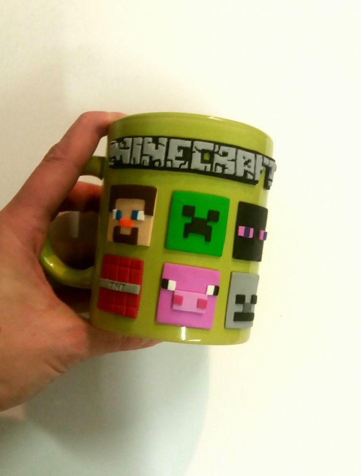 Minecraft polymer clay mug