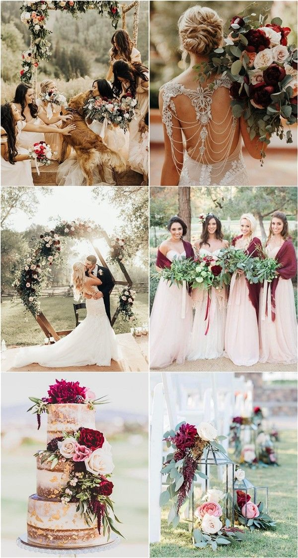 20 Burgundy and Greenery Wedding Color Ideas Novia