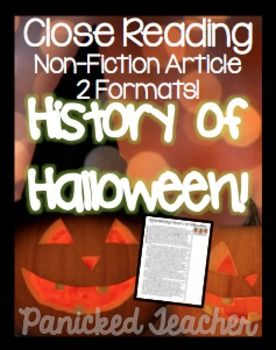 This is a free non-fiction article that you can use for incorporating Close Reading into your classroom around Halloween time! Enjoy!Other Close Read of the Week Units:Close Read of the Week BUNDLE: DISCOVERING AMERICA **$SAVINGS$**Close Read of the Week: Native Americans-$3.00 ValueClose Read of the Week: Early Explorers-$3.00 ValueClose Read of the Week: Christopher Columbus-$3.00 ValueClose Read of the Week: Columbian Exchange-$3.00 ValueClose Read of the Week: New England Colonies-$3.00…