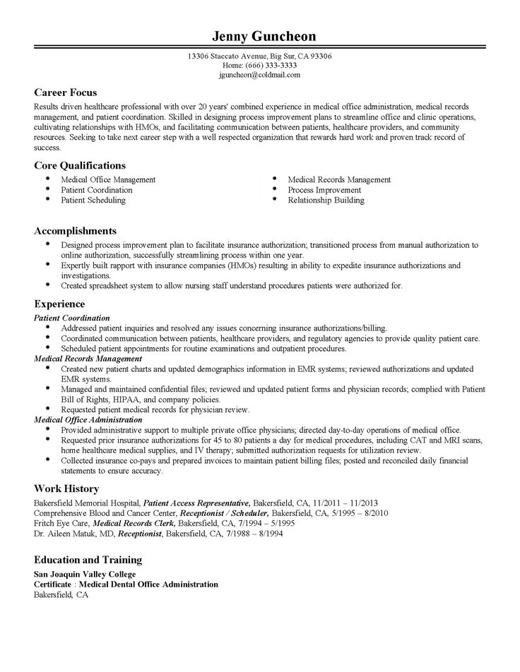 84 best Resumes images on Pinterest Resume tips, Resume ideas - medical records job description