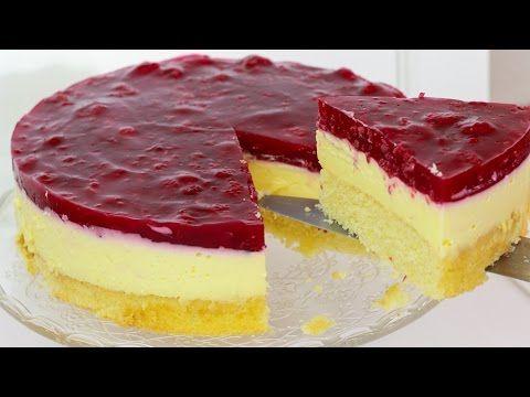 Himbeer Schmand Kuchen - Schmandkuchen mit Himbeeren / Schmand Torte - YouTube