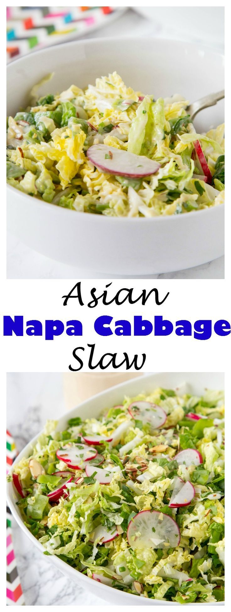 ASIAN NAPA CABBAGE SLAW – A CRUNCHY CABBAGE SLAW SALAD WITH LOTS OF VEGGIES AND A CREAMY ASIAN STYLE SOY DRESSING. GREAT FOR LUNCHES, GET TOGETHERS OR WITH YOUR NEXT BARBECUE.