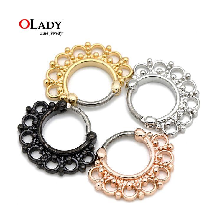Нос перегородки кольцо титана G23 кликер кольца в носу пирсинг украшения нос хооп кольца носа серьги