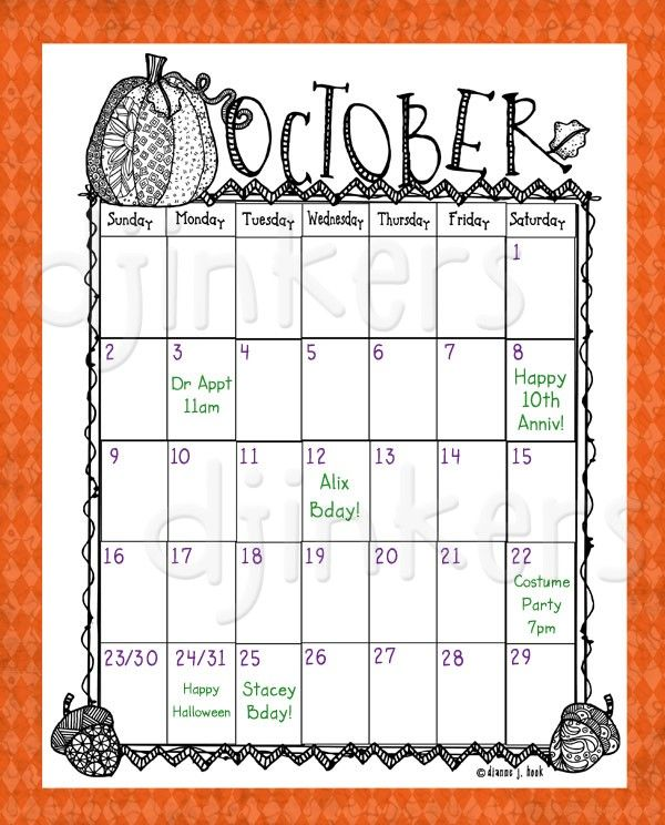 October Calendar Art : Best images about my dj inkers on pinterest chalk