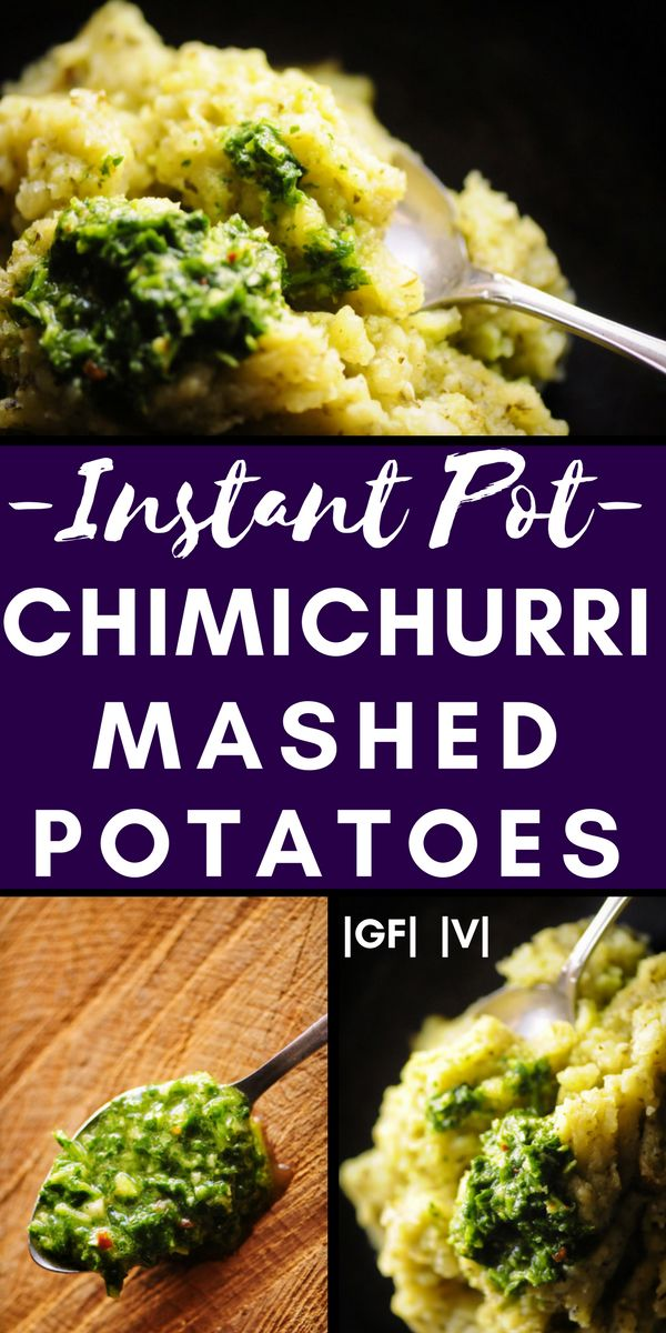 Instant Pot Chimichurri Mashed Potatoes (Vegan, Gluten-Free) - Quick, easy, and delicious Instant Pot Chimichurri Mashed Potatoes. This gluten-free & vegan pressure cooker side dish is ready in under 15 minutes! | moonandspoonandyum.com #instantpot #pressurecooker #mashedpotatoes #chimichurri #vegan #sidedish #glutenfree #green