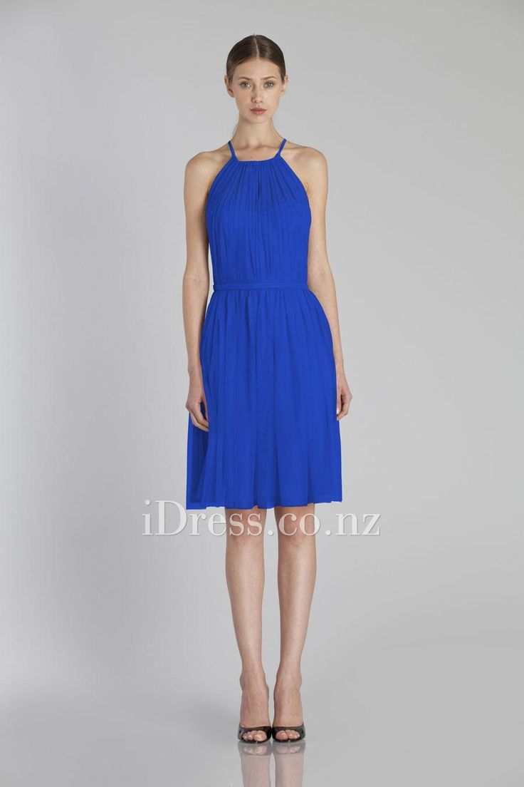 blue chiffon sleeveless halter neck bridesmaid dress with belt from idress.co.nz
