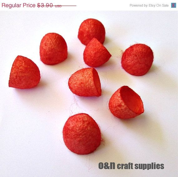SALE Dyed silk cocoons red set of 8 halves by OandN on Etsy, $3.12