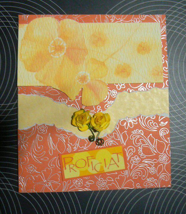 Verjaardagskaart  - Gele bloemen gerecycleerd uit trouwkaarten boek - Proficiat gemaakt op computer