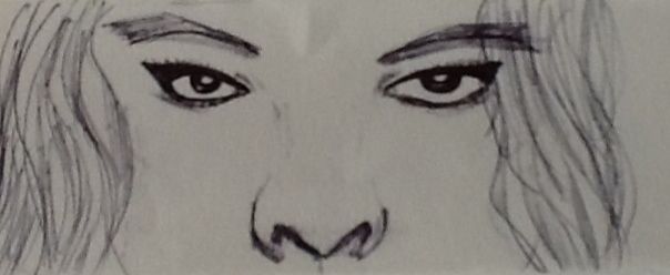 Pen drawing,, face features