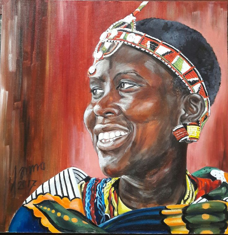 Young Massai girl Made by Jonna Sips Portrait-oilpaint