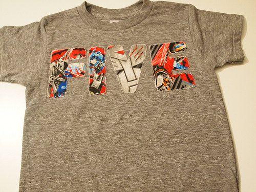 Transformers Birthday Tee Boys Birthday Shirt organic blend Star Wars fabric also available. $28.00, via Etsy.
