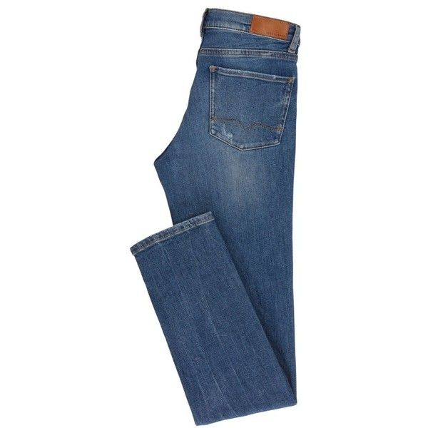 Slim-Fit Jeans aus komfortablem Stretch-Denim mit Flammgarn ($120) ❤ liked on Polyvore featuring jeans, slim jeans, slim fit jeans, blue jeans, stretch denim jeans and slim cut jeans