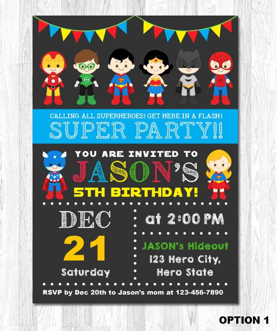 Superhero Invitation Superhero Birthday Invitation by KidzParty