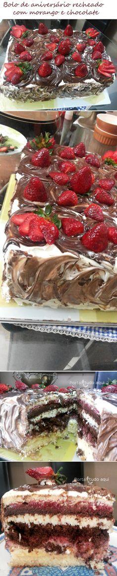 Aprenda a fazer bolo de aniversário recheado com morango, chocolate e beijinho de coco que é perfeito para qualquer tipo de aniversário ou festa! É o melhor bolo de aniversário do mundo!