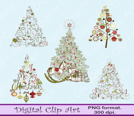 Digital Retro Christmas Tree Clip art Christmas by digitalcliparts