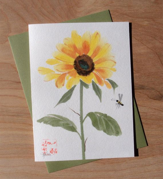Sunflower and Bee ORIGINAL Chinese Brush by KelliMcNicholsArt