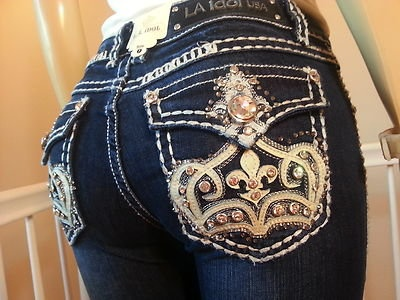 (55) Miss LA Idol JEANS ♥ CROWN DE LIS BOOTCUT ♥ on Wanelo