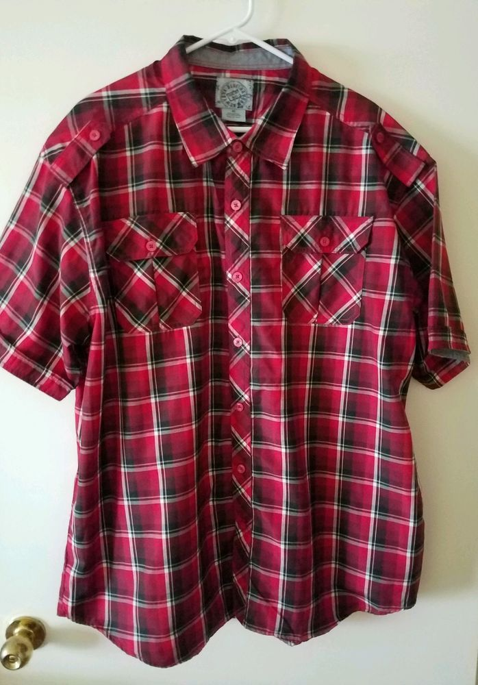 New York Blue Ink Men's Sz 4 X S/S Shirt Red/White Blue Plaid CTN Poly Blend  #NewYorkBlueInk #ButtonFront