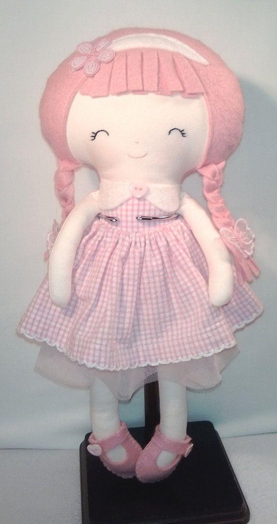 Handmade cloth rag dolls and daydreams pink 12 by CRAFTINGANGIE, $25.00