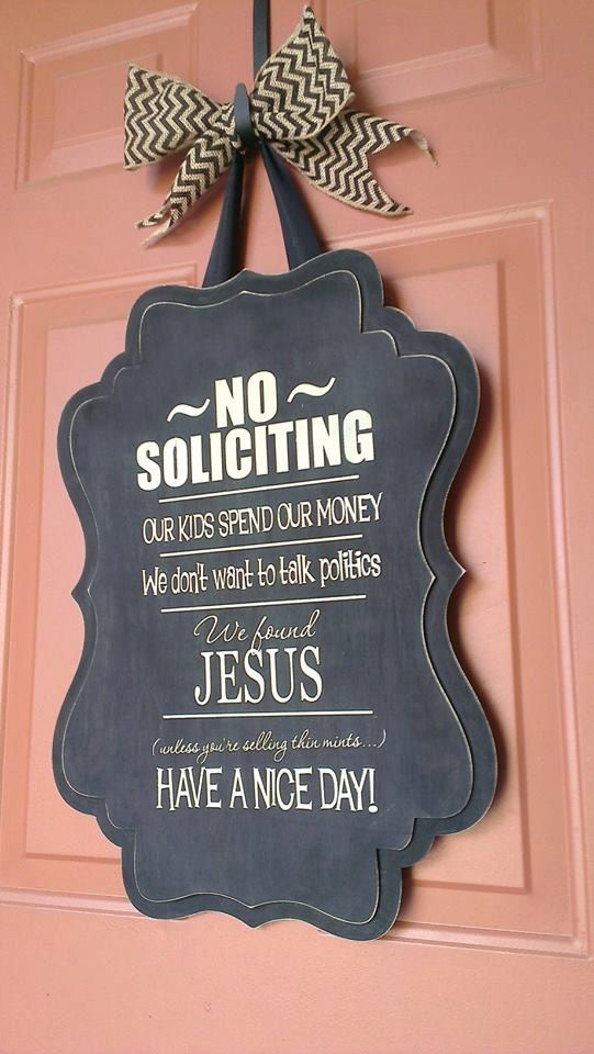 Large whimsical no soliciting sign with by TheMonogrammedWreath