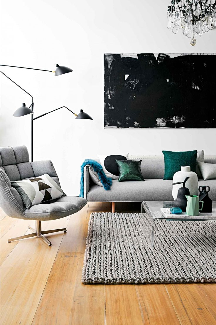 Modern living room with a gray sofa and matching shag rug.