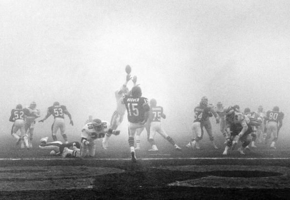 """1987 NFC Divisional Playoff Game - """"The Fog Bowl""""  December 31, 1988 in Soldier Field;  In the 1988 NFC Divisional Playoff game, a heavy dense fog rolls over Soldier Field in Chicago, making it difficult for television and radio announcers to see what is happening on the field in the game between the Chicago Bears and the Philadelphia Eagles. (Getty Images)"""
