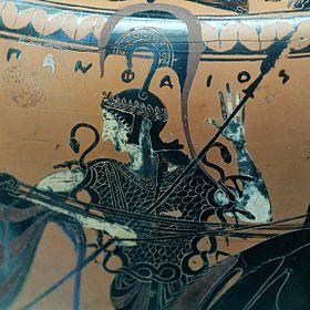 Les attributs de Zeus : l'égide, arme redoutable aussi bien offensive que défensive, faite de cent franges d'or bien tissées et suspendues. Servant aussi à déclencher les orages, Métis la confectionna pour sa fille Athéna.