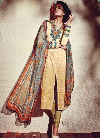 Classy Cream Mehandi Embroidery Work Print  Georgette Churidar Suit http://www.angelnx.com/Salwar-Kameez/Churidar-Suits