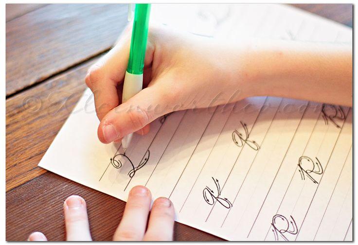 Cursive Handwriting Practice Sheets via @Gina @ Kleinworth & Co.