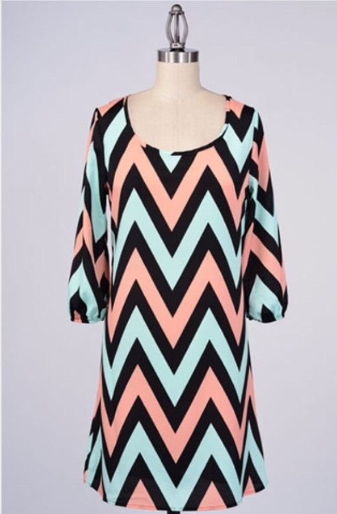 Chevron print shift dress by CaleighsBoutique on Etsy, $34.00