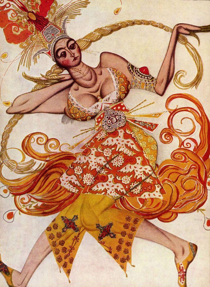 """Léon Bakst. Figurín de ballet pra """"El pájaro de fuego"""" 1910"""