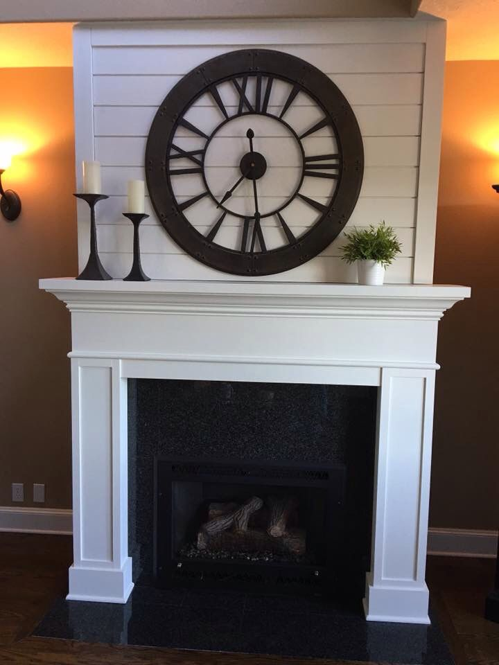 Joanna Gaines inspired fireplace mantel. Pine shiplap.