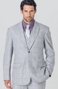 Costume homme gris carreaux mauve