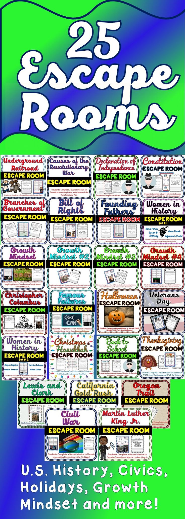 """Escape Rooms for US History, Holidays, Growth Mindset and more! In addition to learning or reinforcing the subject matter, my escape rooms encourage teamwork and critical thinking. As a """"timed"""" challenge, students will be engaged from beginning to end."""