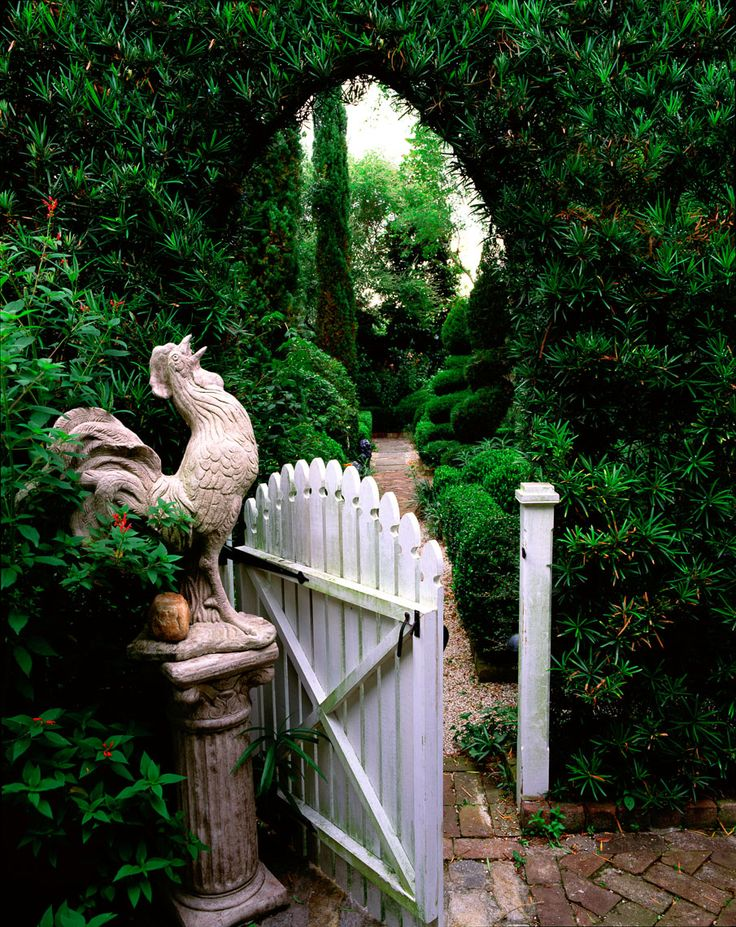 Entrance to a garden worth crowing about. J. Paul Moore Photography